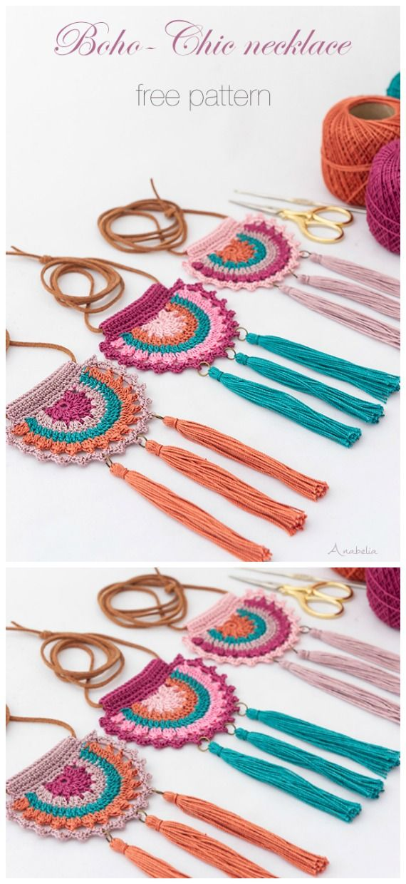 Boho-Chic Necklace Crochet Free Pattern