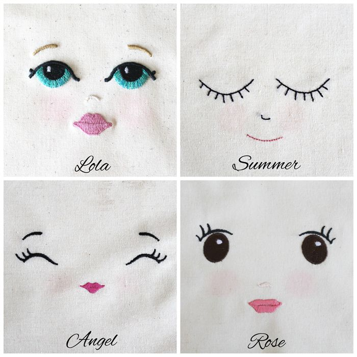 embroider doll face - Google Search