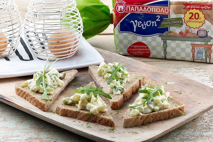 "Open sandwich με ψωμί για τοστ ""Γεύση στο Τετράγωνο"" ΠΑΠΑΔΟΠΟΥΛΟΥ Ολικής Άλεσης, αυγοσαλάτα και ρόκα"