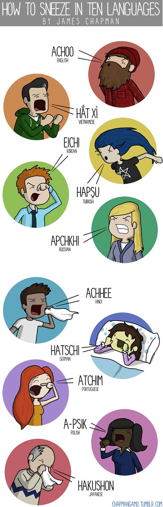 Sneezing in 10 languages...
