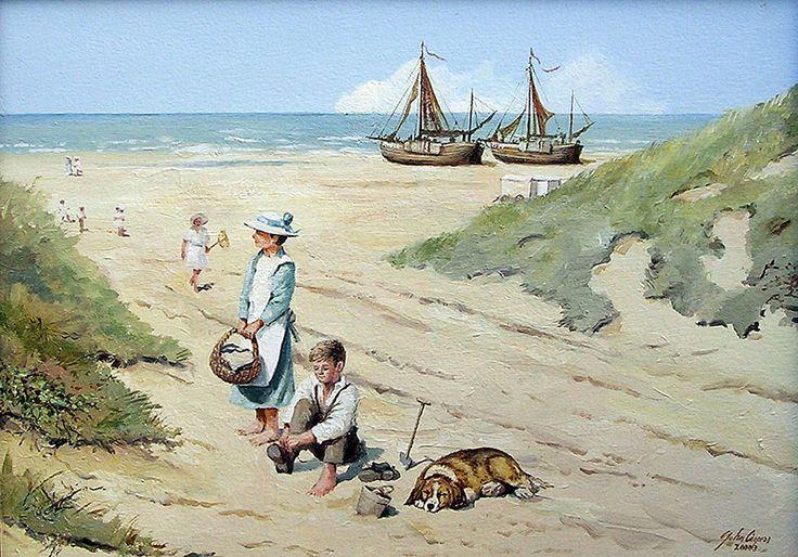 Schilderij strand - John Caspers - Strandafgang Noordwijk - Olieverf op paneel - 25 x 35 cm. -