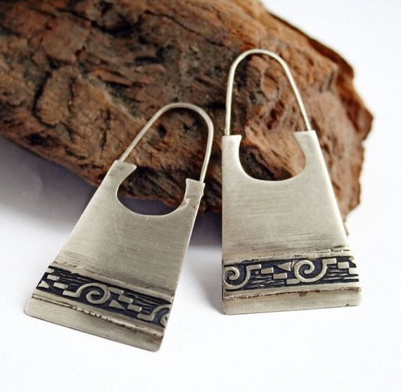 Tribal Earrings in Sterling Silver with Textured Band - Ethnic Earrings - Indian Earrings
