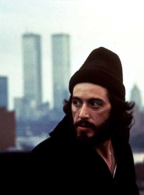 """Al Pacino in Serpico with NYC's brand-new """"Twin Towers"""" in the background!"""