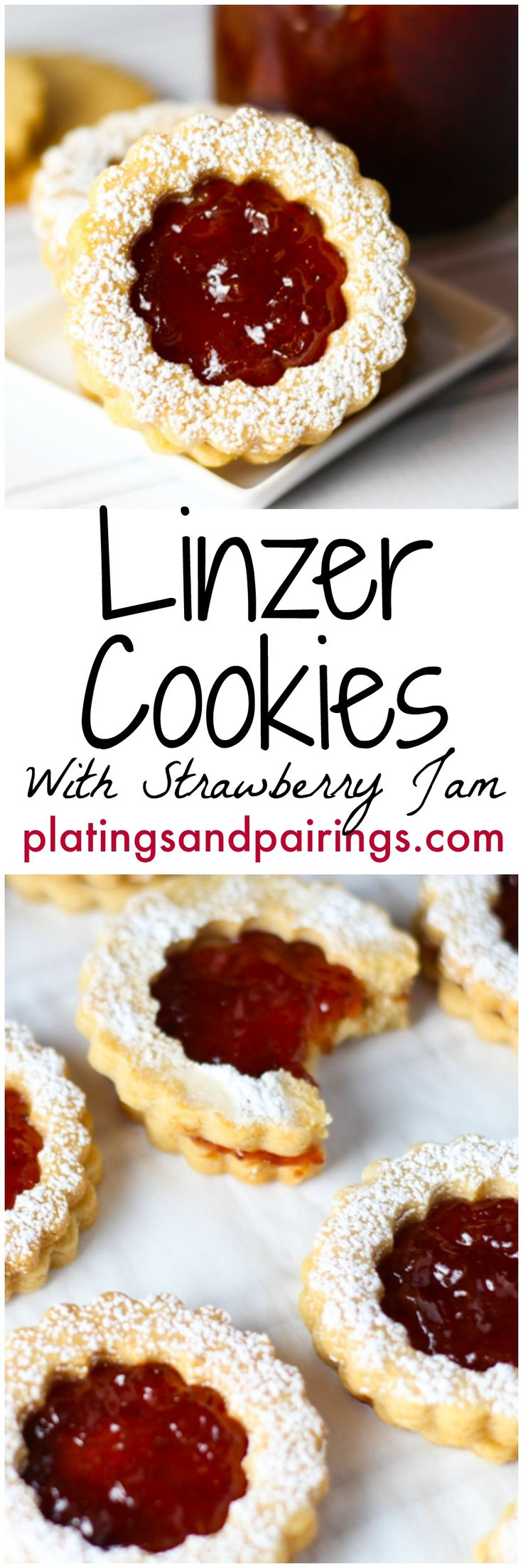Buttery Shortbread layered with Sweet Strawberry Jam platingsandpairings.com .