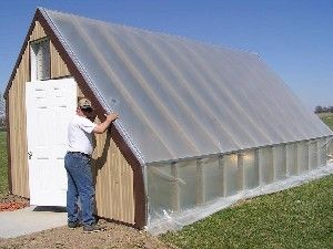 A Passive Solar Greenhouse does not use an artificial heat source such as propane but rather utilizes the sun to heat water, concrete, or some other heat holding material.