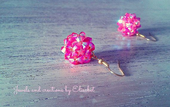 Swarovski beaded earrings, short or long. Fuschia color is very stunning!!!!