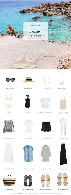 Travel Light: Pack for the Canary Islands in a carry-on. 20 items, 10 days, 1 carry-on. http://hejdoll.com/pack-canary-islands/?utm_campaign=coschedule&utm_source=pinterest&utm_medium=Jessica%20Doll&utm_content=Pack%20for%20the%20Canary%20Islands