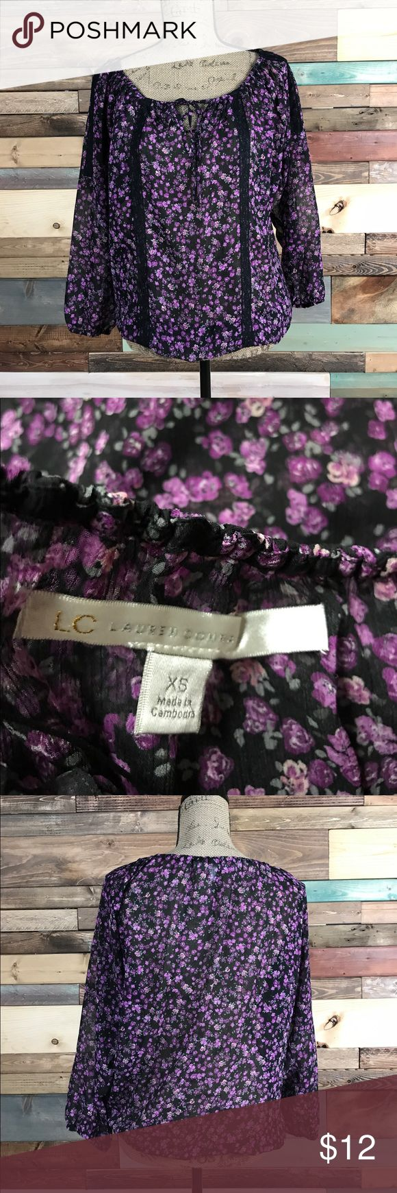 """LC Lauren Conrad Black Floral Blouse XS LC Lauren Conrad Black Floral Blouse XS // Bust: 21"""" / Length: 25"""" // Bundle your likes and make an offer for best deals @woodsnap! LC Lauren Conrad Tops Blouses"""