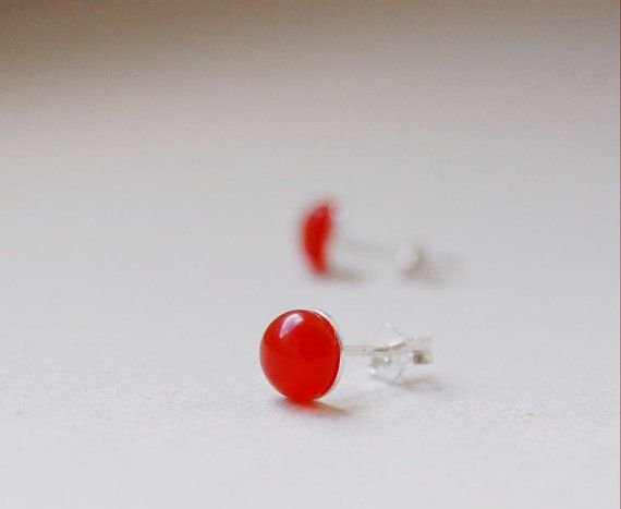 Stud earrings, delicate and minimalist earrings, created using sterling silver components adorned with a semi-precious stone carneol (6mm = 0.24).