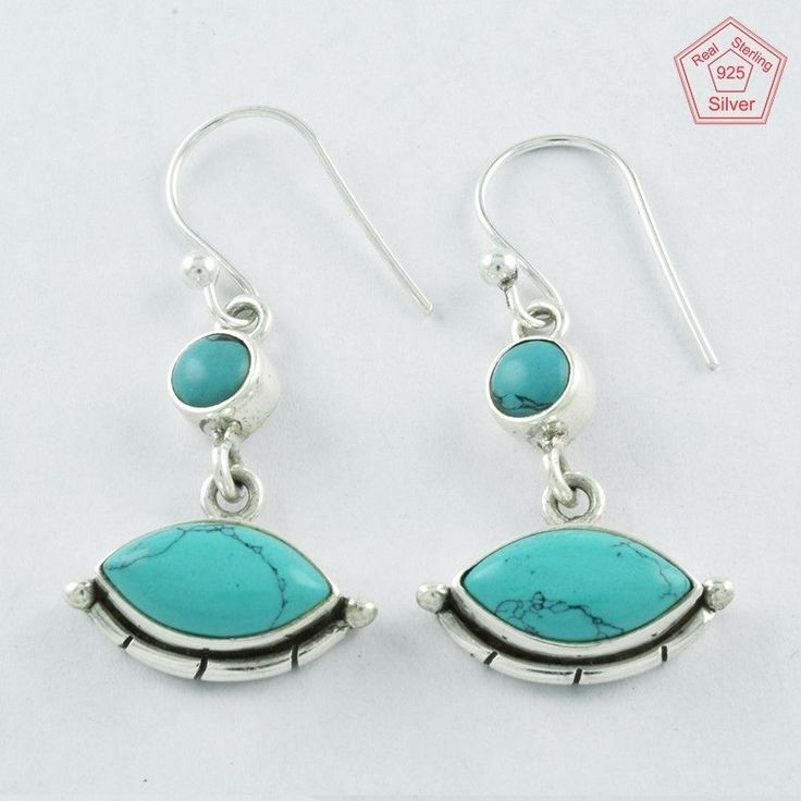 Lovely 4.2 gm Turquoise Stone Sterling Silver 925 Jewelry Earrings $ 12.99 #SilvexImagesIndiaPvtLtd #DropDangle