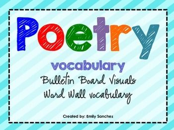 Poetry Vocabulary Bulletin Board Visuals. 34 vocabulary cards with definitions and examples!