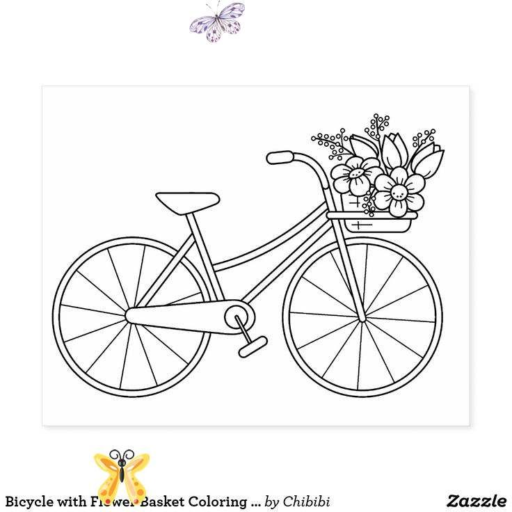 Bicycle With Flower Basket Coloring Page Rubber Stamp Zazzle Com Br A Simple Illustratio In 2020 Simple Embroidery Embroidery Hoop Art Embroidery Patterns Vintage
