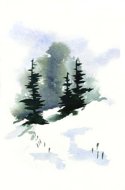Snowy Hillside Watercolor Art Print