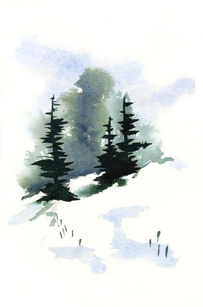 Snowy Hillside Watercolor Art Print