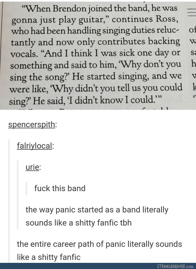 Panic! really is just a shitty fanfic << it's true because everyone left