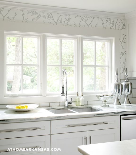 At Home in Arkansas: F Schumacher Twiggy Silver Wallpaper, white Ikea kitchen cabinets with Vermont Marble ...
