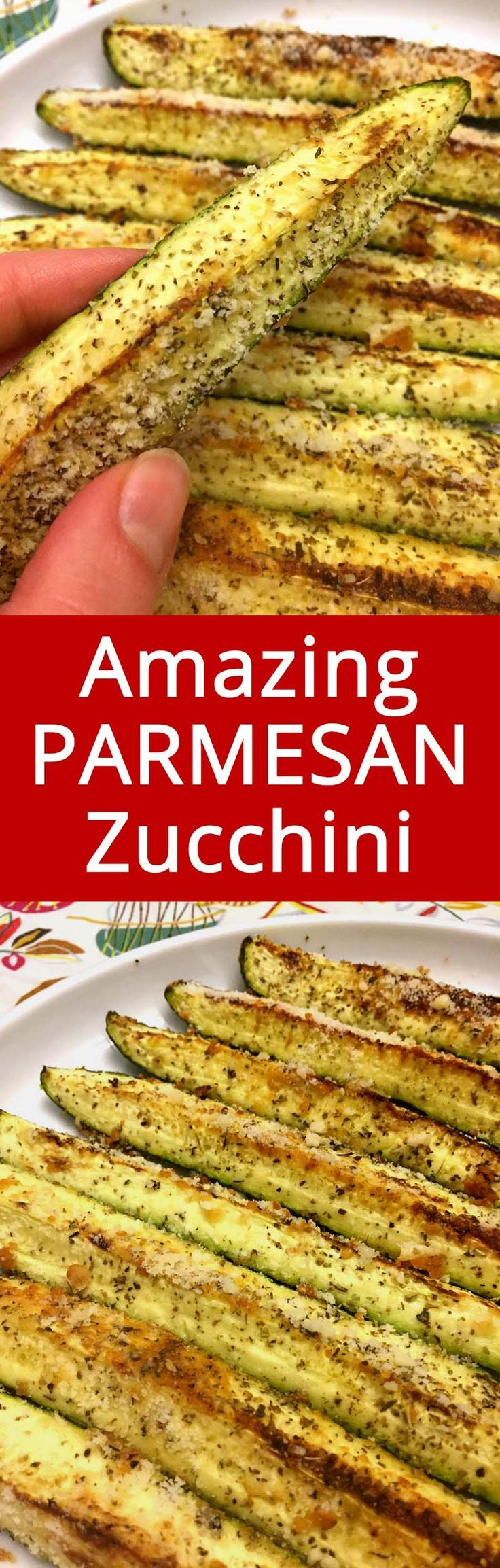 This is my favorite zucchini recipe! Parmesan and garlic makes it perfect!
