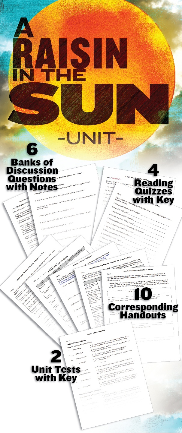 This CCSS aligned unit includes a variety of discussion questions, handouts and quizzes to give students a thorough understanding of Lorraine Hansberry's award-winning play. $