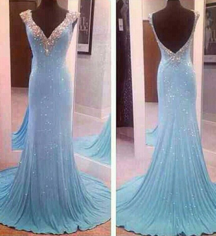 Sweetheart Sky Blue Jersey Cap Sleeves Evening Gown With V Back UK12870 on Luulla
