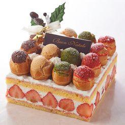 Store-bought Japanese Profiterole Christmas Cake.