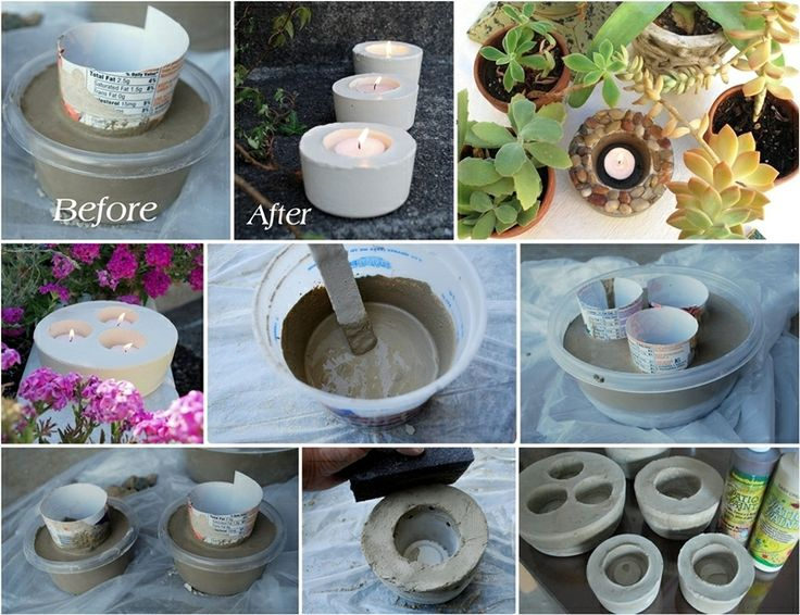 Concrete candle holders for your garden
