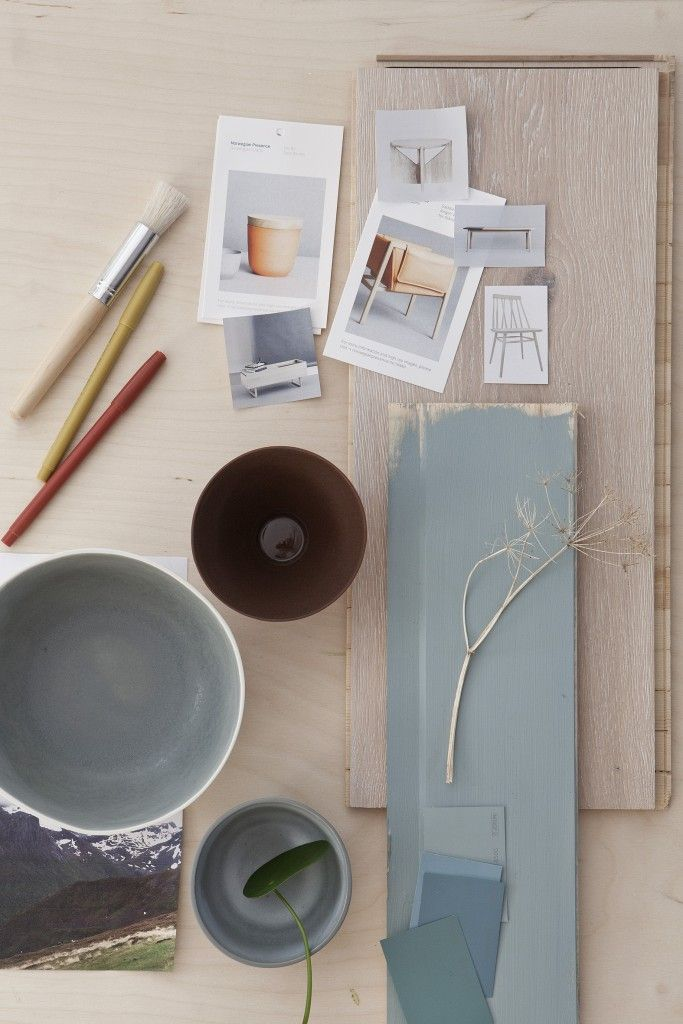 Oslo Design Fair moodboard with Scandinavian design and soft colours
