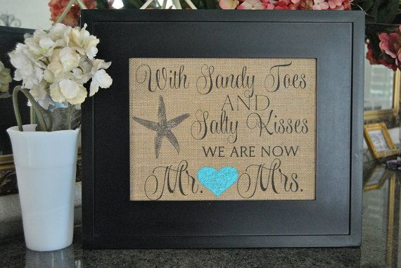 WiTH SaNDy ToEs and SaLTy KiSSeS - Burlap Print - Nautical BuRLaP SiGn - Burlap Wedding Sign - Beach Wedding - Choose Your Color - 8 x 10 by lizzieandcompany