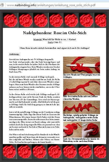 How to needlebind a rose using the Oslo stitch & F1 connection, tutorial by Ulrike Claßen-Büttner @ nalbinding.info - Please see link for PDF!