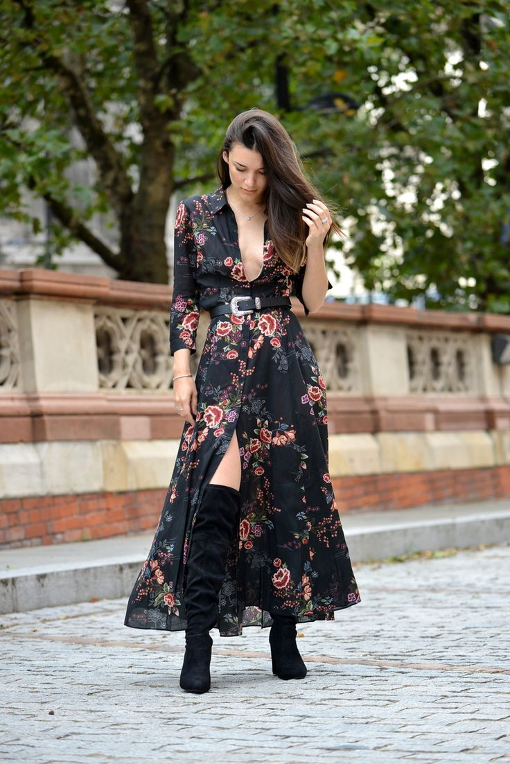 Anisa Sojka styles buttoned up black Zara maxi dress with floral print | Heeled suede thigh high boots | Silver PANDORA stackable necklaces, bracelets and rings | Fashion blogger street style shot in London by David Nyanzi
