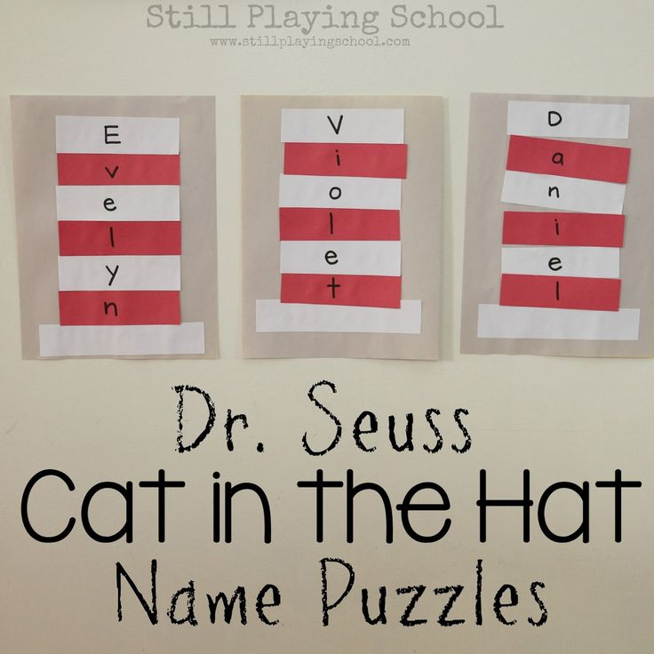 Dr. Seuss Cat in the Hat Name Puzzle Craft   Still Playing School