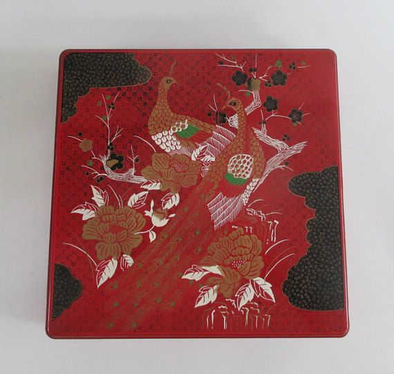 Square Asian Serving Tray Vintage Laquerware 4 Dividers