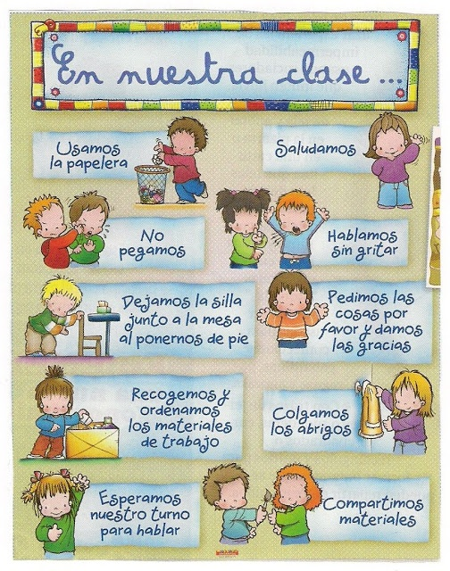 Great for Spanish preschool or Spanish classroom. NUESTRO CARTEL DE LAS NORMAS DE LA CLASE