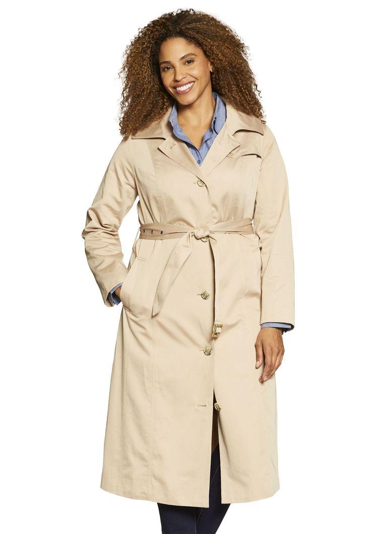 Long rain-resistant trench coat. - Women's Plus Size Clothing