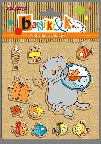Basik and fishes Set of stamps 10,5x10,5cm