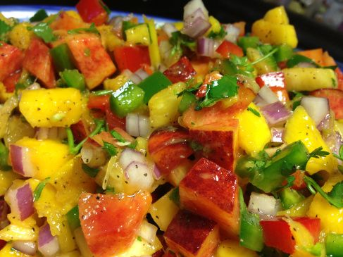 Spicy Peach, Pineapple, Mango Salsa with Jalapeeeeno... On BBQ Chicken... this would be Mouthwatering Delicious!!