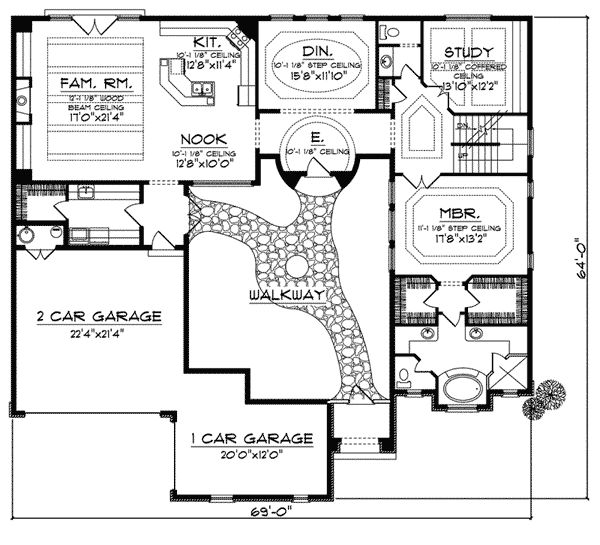 Cervantes santa fe style home gardens house plans and for Spanish house plans with inner courtyard