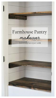 Super cute DIY Farmhouse Pantry Makeover via littleglassjar.com #shiplap #organization #pantry
