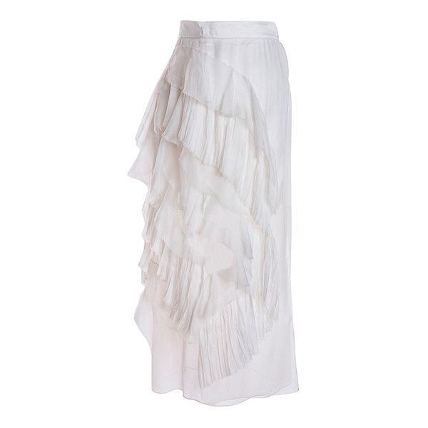 Parlor Marvel Skirt ($405) ❤ liked on Polyvore featuring skirts, white, white ruffle skirt, white skirt, white flounce skirt, flounce skirt and frilly skirts