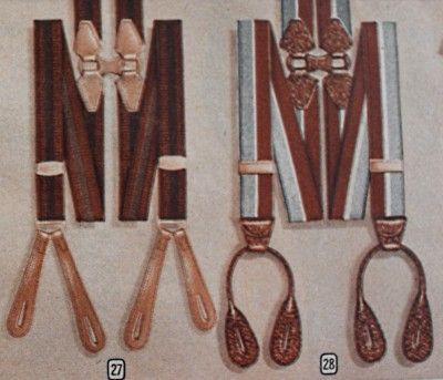 1940s men's suspenders or braces - 1947- Suspenders were worn by men in the '40s although belts were becoming more popular. They came in thick stripes with button loops.