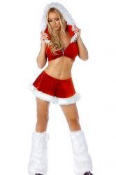 Red Fashion Womens Mini Fur Skirt Suit Christmas Santa Costume