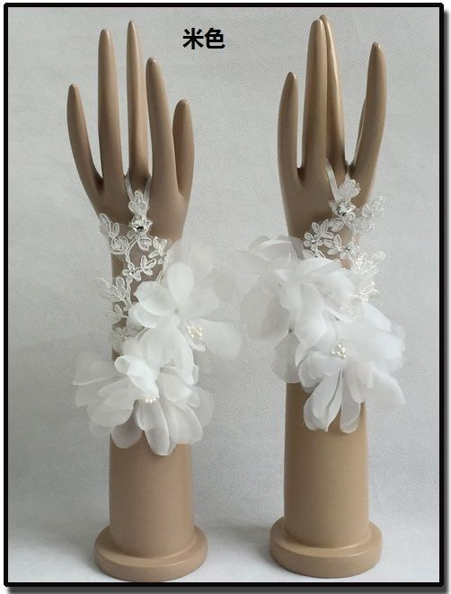 Classy Ivory Fingerless Appliques Bridal Wedding Accessories Prom Bridal Gloves #EveningGloves