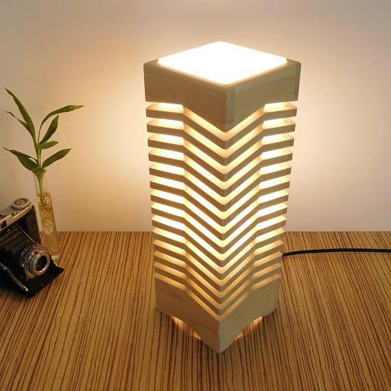 Wood table lamp home lighting wooden lamp handmade zen desk