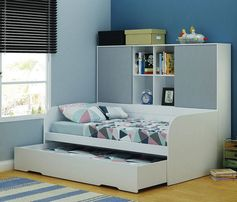 Pluto Storage Trundle Bed features single bed with single trundle and bookcase/cupboards. The bed and bookcase/cupboards can be separated if needed. White/Grey Only.