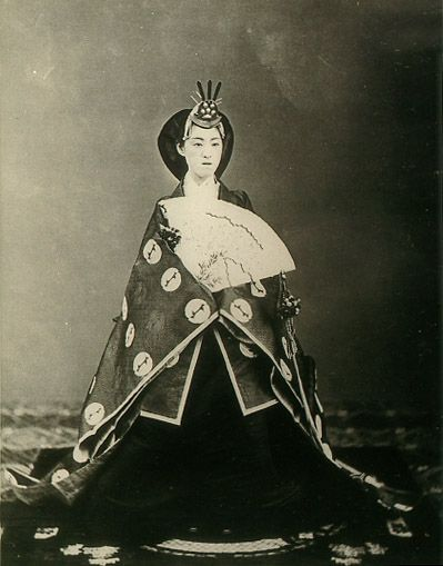 "The Meiji Empress Syouken. 1849-1914. (It is not right to actually call ""Empress"".   The right name of Japanese Emperor is ""Kougou"" or "" Kougou-Heika"".)   Meiji era."