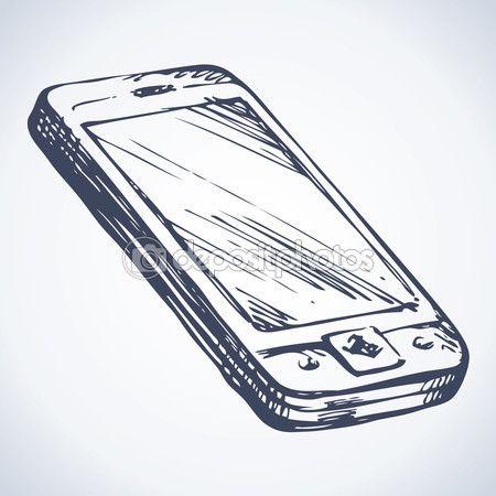 Touchphone mini pc con pantalla en blanco de la aplicación de mostrar un cuadro de interfaz de usuario de sms de signo. Contorno negro a mano alzada en tinta blanca mano icono dibujo en pluma de estilo doodle de arte sobre papel. Primer plano de la vista con espacio para texto