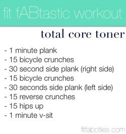 fit fABtastic workout- total core toner. Need to start working out again!