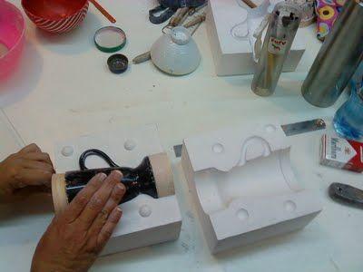Moldes de yeso para cerámica de tres piezas
