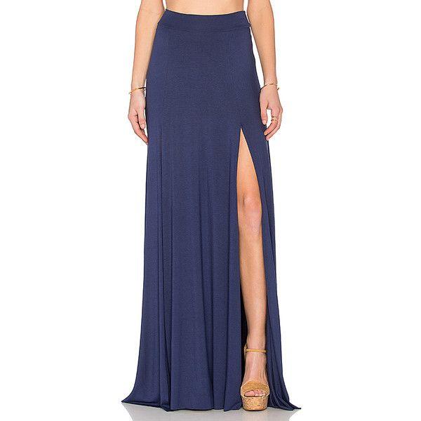 Rachel Pally x REVOLVE Josefine Maxi Skirt Skirts ($198) ❤ liked on Polyvore featuring skirts, long blue skirt, front slit maxi skirt, blue maxi skirt, rachel pally and maxi skirt