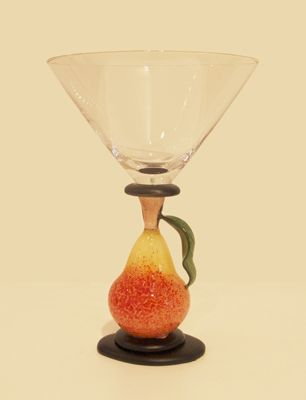 "Margaret Neher- ""Pear Martini Glass"" flameworked glass"