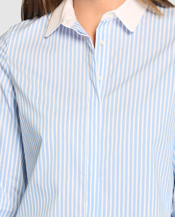 Camisa de mujer Síntesis con rayas y puños y cuello a contraste · Síntesis · Moda · El Corte Inglés